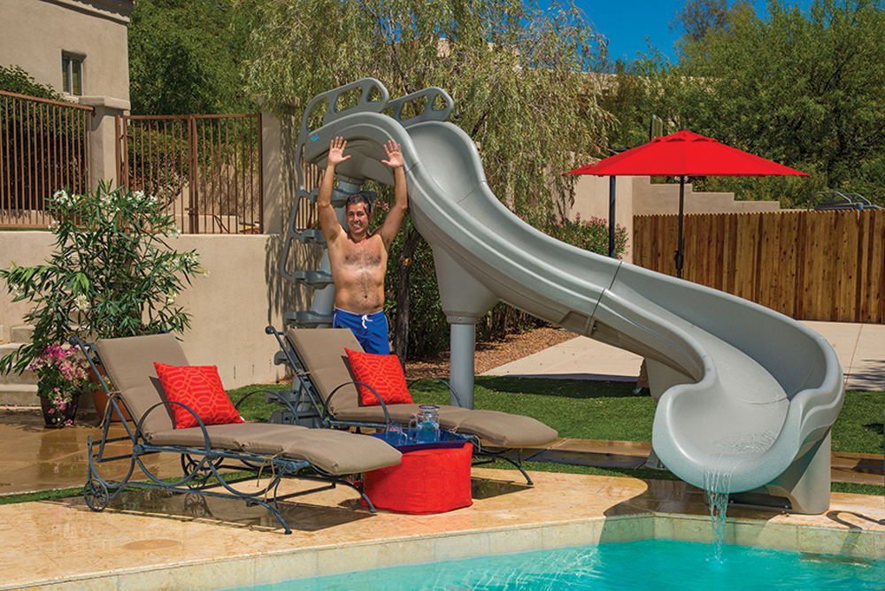 Pool slides diving boards and handrails residential - Commercial swimming pool water slides ...